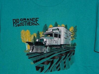 Vintage 90s Rio Grande Southern Galloping Goose Snow Plow Train T Shirt Green