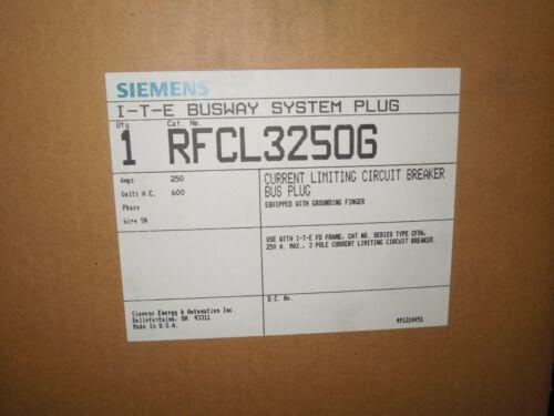 Siemens RFCL3250G 250A 3ph 3W 240V w/ Ground ITE XL-X Busway System Plug Surplus
