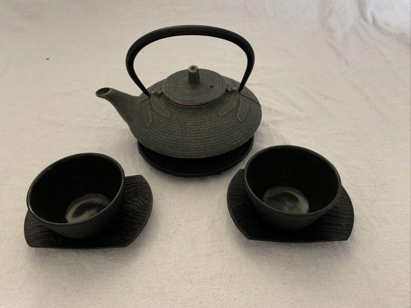 Asian Dragonfly Cast Iron Teapot Tea Kettle Set, 2 Cups