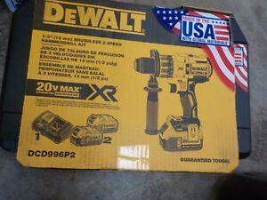 NEW DEWALT DCD996P2 20V MAX XR Lithium Ion Brushless 3-Speed Hammer Drill Kit