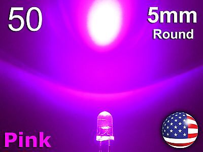 50pcs 5mm Pink Superbright Led - Water Clear Round Light Emitting Diode - Diy