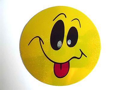 AUFKLEBER Sticker Smiley gelb frech streckt Zunge raus :-P glitzert, 6,2 cm (Smiley Zunge Raus)