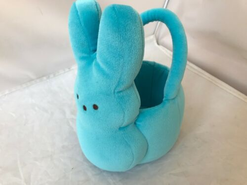 "EASTER PEEPS BUNNY EASTER BASKET BLUE PLUSH CLEAN EXCELLENT CUTE 9"" high"