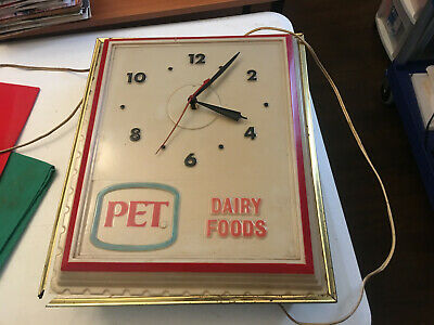 VINTAGE PET DAIRY ELECTRIC HANGING 16 X 14 CLOCK PLASTIC COVER METAL BACK for sale  Indian Trail