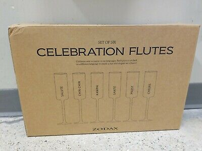 Flute Champagne Glasses with Toasting Words (Set of (Glasses With Words)