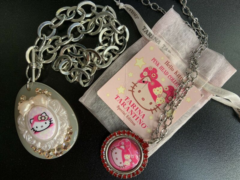 Hello Kitty by Tarina Tarantino Pink Head Collection 2003 Necklaces: Lot of 2