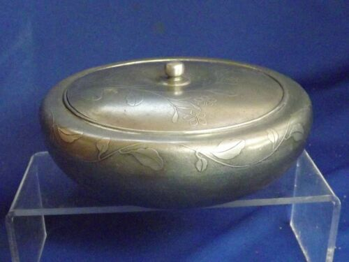 "Antique Chinese Pewter Tea Caddy Round 6""W Calligraphy Signed Box incised Floral"