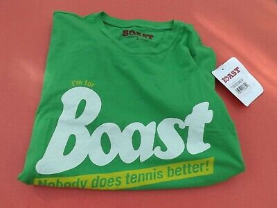 NWT BOAST Men's Short Sleeve Large T-Shirt Green Nobody Does Tennis