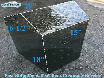 Aluminum Black Tool Box Truck Tongue Trailer Storage Towing Tractor Bed W Lock
