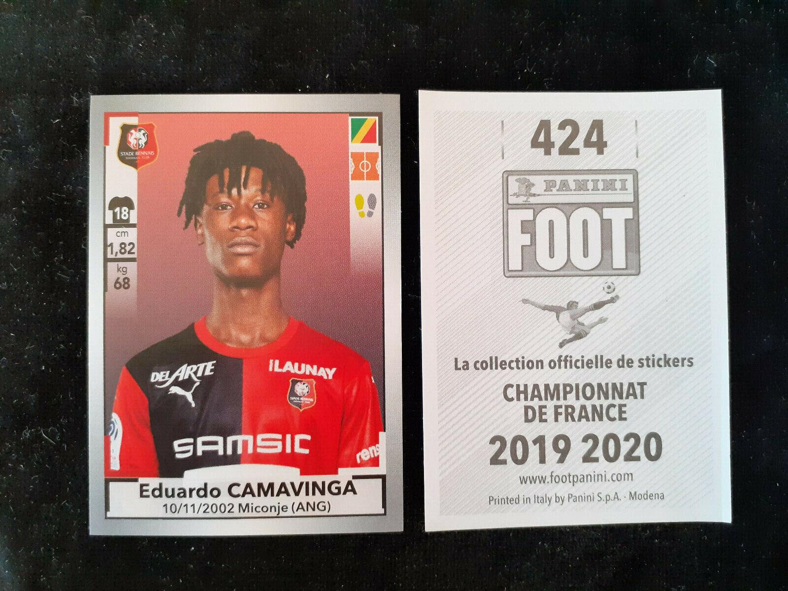 Eduardo camavinga rookie 424 sticker rennes panini foot 2019-20 france team