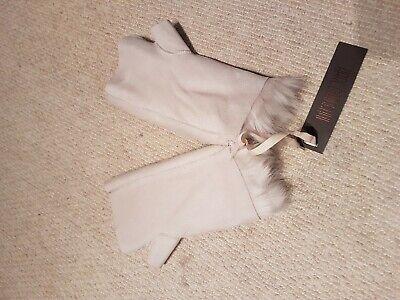 Karl Donoghue reversible fingerless toscana shearling gloves/mittens BNIB beige