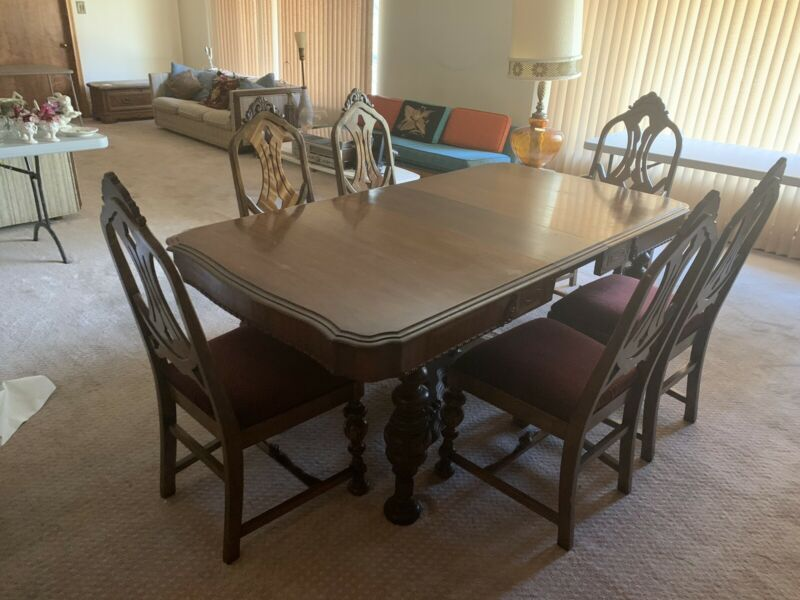 Jacobean style mahogany dining room set