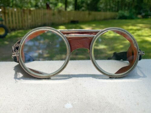☆ Vintage WILLSON GOGGLES with Leather Side Shields and Nosepiece ☆ 1920