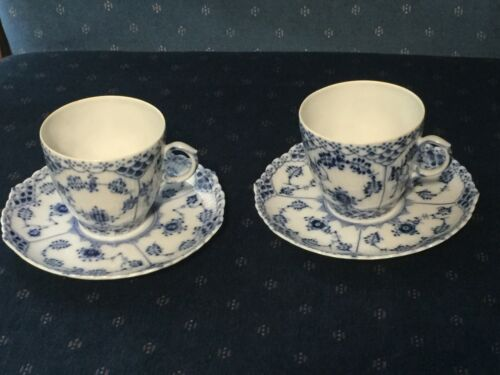 Lovely TWO SETS Royal Copenhagen Blue Fluted Full Lace CUPS & SAUCERS 1035