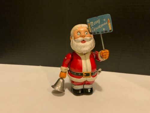1950s Bell Ringing SANTA Tin Wind-Up Toy JAPAN Christmas Decoration NICE! Works