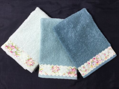 3 Tealish Green med weight soft cotton washcloths trimmed with Lecien Roses