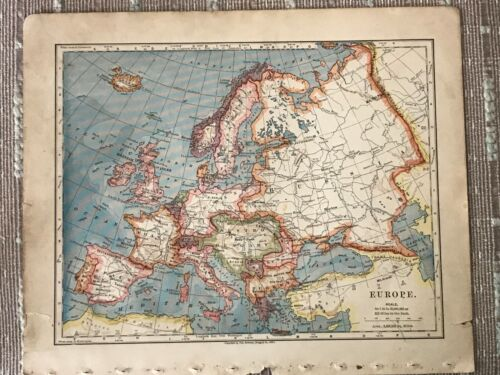 Vintage Color Map of Europe Printed in 1883