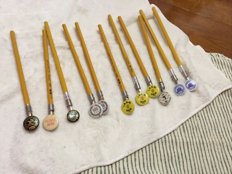 Choice of Vintage UNION PENCIL TOPPERS - IBEW, Painters, Metal & Glass, Plumbers