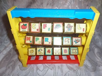 """Vintage 1987 Shelcore Spin n Learn Blocks Educational 9"""" Colorful Toddler Toy"""