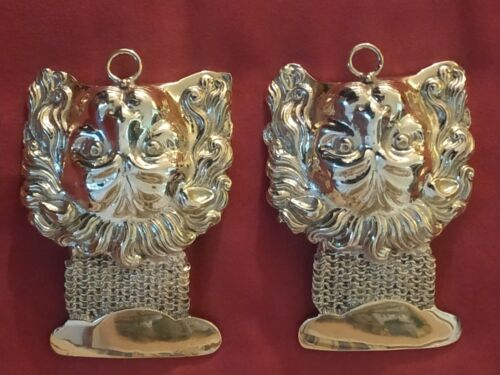 """Greece - military pair of """"lion heads"""" army officers of Ionian Islands militaria"""