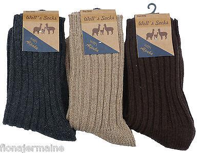 Damen Herren Wollsocken Socken mit Alpaka Schafwolle Schurwolle warm Gr.35-42