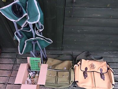 Job Lot Of Vintage Fishing Gear/Tackle, 2  x Fishing Tackle Bags, Folding Chair