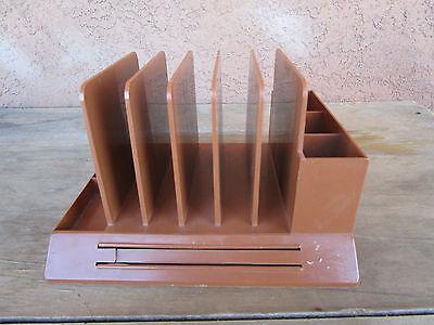 Vintage 1960s Plastic Max Klein Mid Century Desk Top Organizer Brown