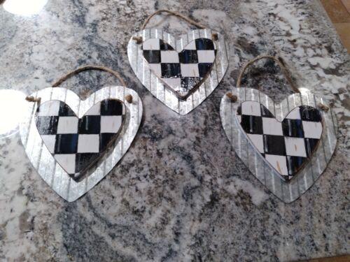 "Set of 3 Mackenzie Childs Inspired Hearts Galvanized Steel / Wood 6"""