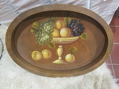 Vintage hand painted Floral Tole Wooden Decorative Serving Tray Tea tray Shabby