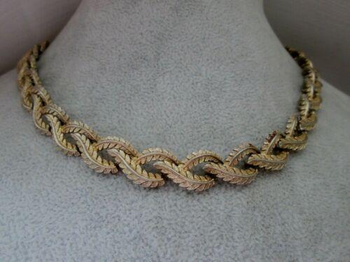 """Vintage Signed JEWELCRAFT Necklace Gold Tone Leaf Link Hook Clasp 17"""""""