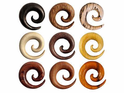 Spiral Stretcher Wood ear plug taper gauge tunnel organic tribal horn piercing ()