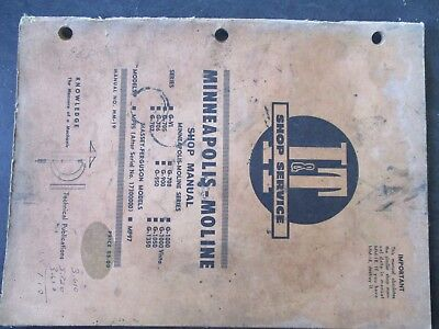 Minneapolis Moline B-vi G-708 G-1000 Tractor Shop Manual