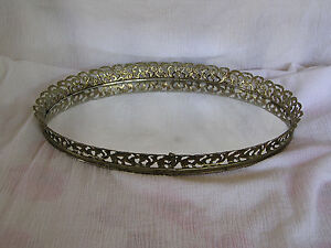 Vintage-Large-Oval-Gold-Filigree-Rim-Mirror-Perfume-Makeup-Vanity-Dresser-Tray