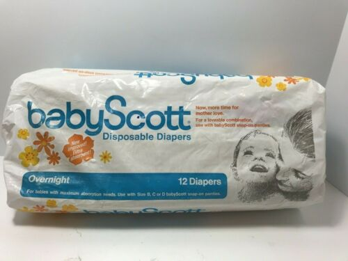 Vintage 1965 Baby Scott Disposable Diapers 10 ct Overnight Open Package RARE!
