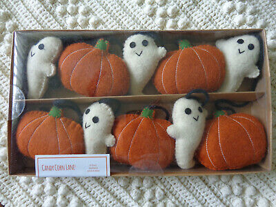 HALLOWEEN CANDY CORN LANE 6 foot Felt GHOST & PUMPKIN Garland NIB