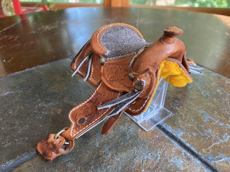 Vintage Hand Crafted Tooled Leather Horse Saddle Miniature Salesman Sample