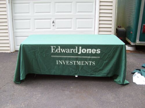 Edward Jones Investments table cloth covering banner flag