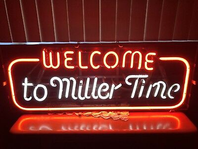 Vintage Welcome to Miller Time neon beer sign Oroville Bar Man Cave Rare