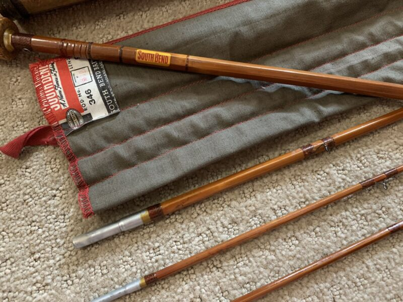 Vintage South Bend No. 346-9, 9', 3 piece 2 Tips 3/2 Bamboo Cane Fly Fishing Rod