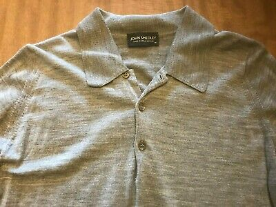 John Smedley Wool Polo Shirt Collared Sweater Men's MED Gray Made Great Britain
