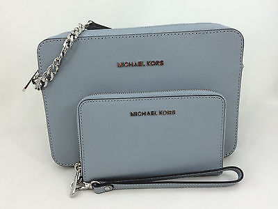 New Michael Kors MK Jet Set Saffiano Leather LG EW Crossbody/Shoulder Bag Wallet