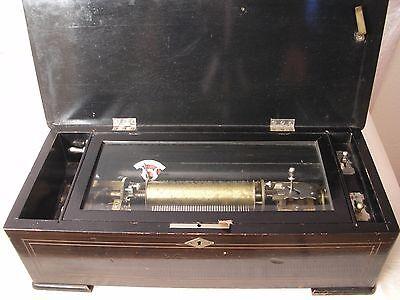 Spieluhr Walzenspieluhr Musikdose groß Schweiz um 1890 für 6 Melodien Intarsien
