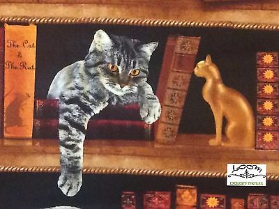 RPG248 Library Cat Lover Books Knowledge Kitten Bird Read Quilting Cotton Fabric