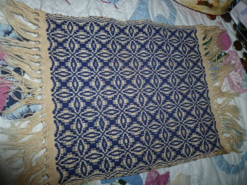ANTIQUE coverlet for DOLL BED or Dollhouse rug primitive-  reversible