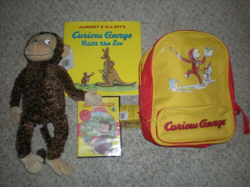 NEW Curious George Kids Backpack Bag Book Stuffed Monkey DVD Set Kohl's Cares