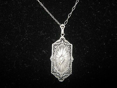 Art Deco Sterling Long Filigree Camphor Pendant/Necklace, 16""