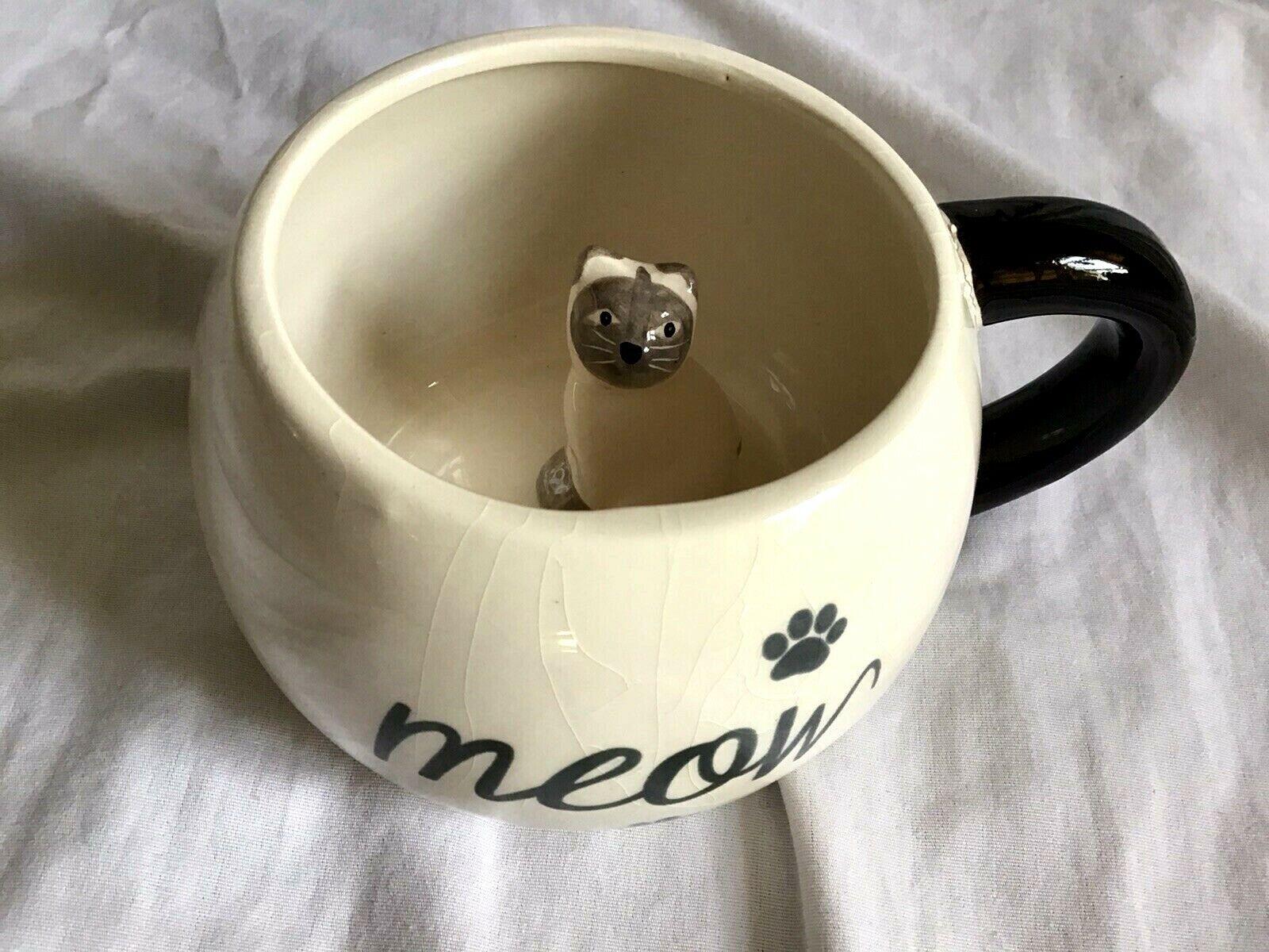 WORLD MARKET Surprise MEOW Cat Inside Mug Coffee Mug Tan Ceramic Jumbo 17 Oz EUC - $6.95