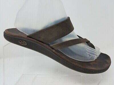 Chaco Womens Toe Ring Sandal Size 10 Brown Leather Comfort Thong Flip (Chaco Womens Leather Flip Sandal)