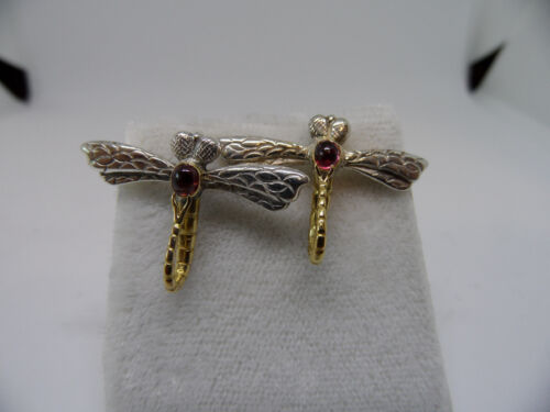 vintage antique 20K gold & sterling Silver Ruby dragon fly earrings