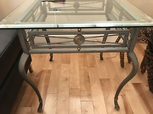 Glass coffee table and matching end table